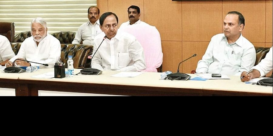 Chief Minister K Chandrasekhar Rao speaks during the TRS Parliamentary Party meeting at Pragati Bhavan in Hyderabad on Thursday.