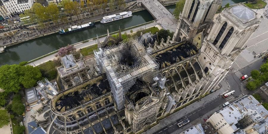 An image made available by Gigarama.ru on Wednesday April 17, 2019 shows an aerial shot of the fire damage to Notre Dame cathedral in Paris. (Photo | AP)