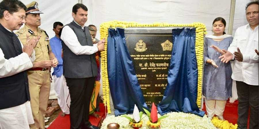 Maharashtra CM Devendra Fadnavis lays the foundation stone for the construction of the police complex.