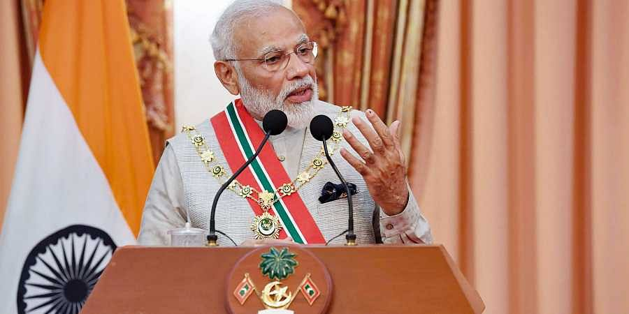 Prime Minister Narendra Modi delivers a joint press statement at Male in Maldives on 8 June 2019. (Photo | PIB)