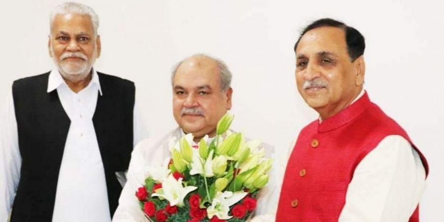 Gujarat CM Vijay Rupani meet Union Agriculture Minister Narendra Singh Tomar and MoS Agriculture Parshottam Rupala at Krishi Bhawan in New Delhi