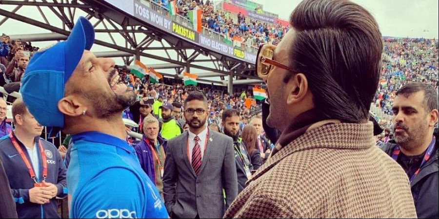 Injured batsman Shikhar Dhawan was seen sharing a burst of laughter with Bollywood actor Ranveer Singh. (Photo | Twitter)
