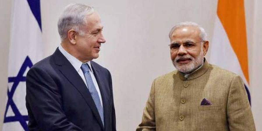 Indian Prime Minister Narendra Modi with his Israeli counterpart Benjamin Netanyahu