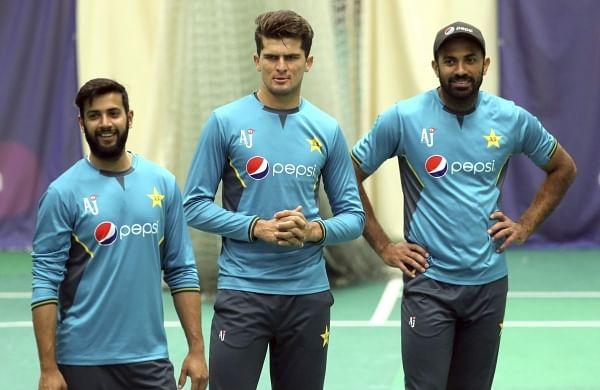 Imad Wasim with Shaheen Afridi and Wahab Riaz. (Photo   AP)
