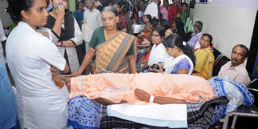 Patients wait for their turn at the OP section of General Hospital in Kochi as doctors went on strike across the country on 17 June 2019. (Photo   A Sanesh, EPS)
