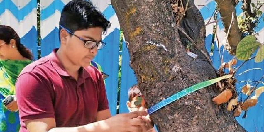 A boy measures a tree for the census in Bellandur.