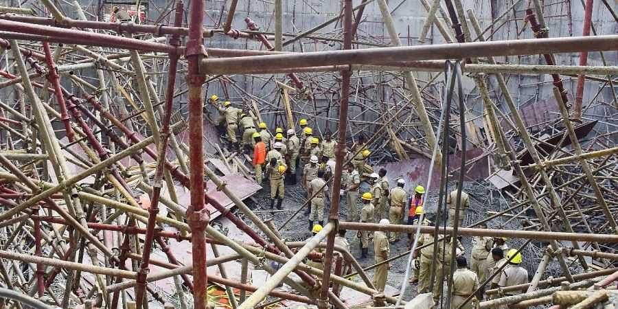 Rescue operation underway after a scaffolding collapsed of an under construction water treatment plant of Bangalore Water Supply and Sewerage Board BWSSB in Bengaluru on 17 June 2019. (Photo | Pandarinath B, EPS)
