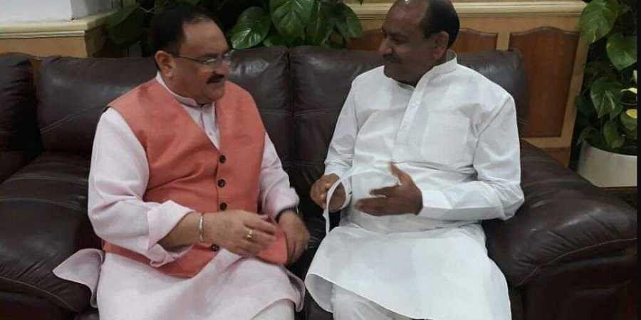 R-L: BJP's Lok Sabha Speaker nominee Om Birla with BJP Executive President JP Nadda. (Photo | Om Birla Twitter)