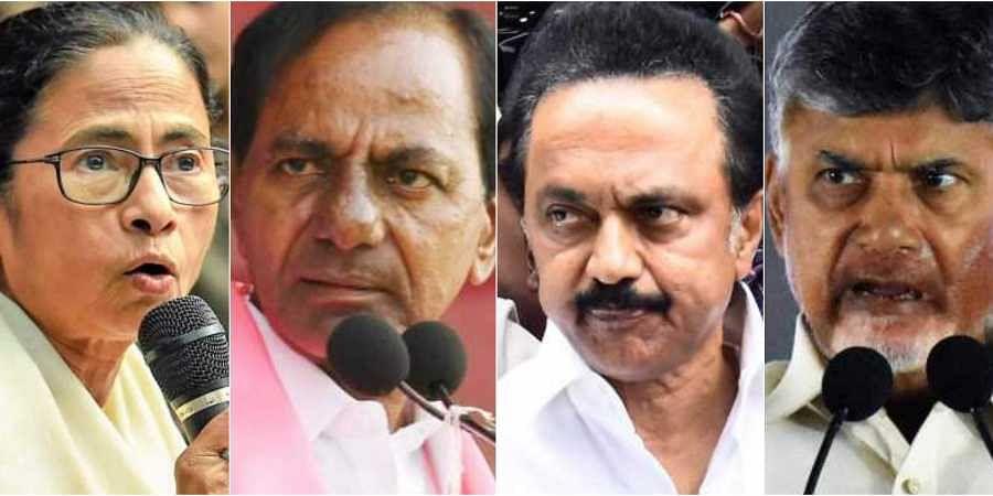 L-R: Mamata Banerjee, K Chandrasekhar Rao, MK Stalin and Chandrababu Naidu. (Photos | EPS)