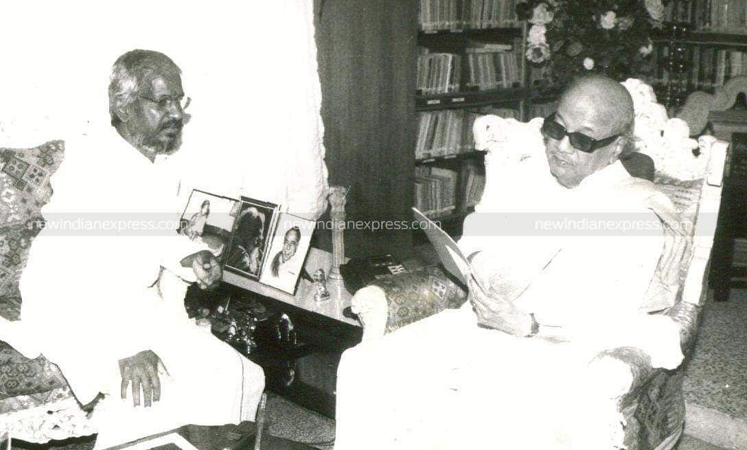 Music mastro Ilayaraaja interacting with then Tamil Nadu CM Karunanidhi.