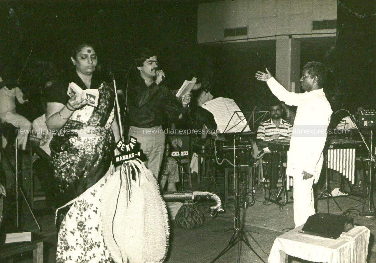 Playback singer S Janaki with Ilayaaraja during a music programme.