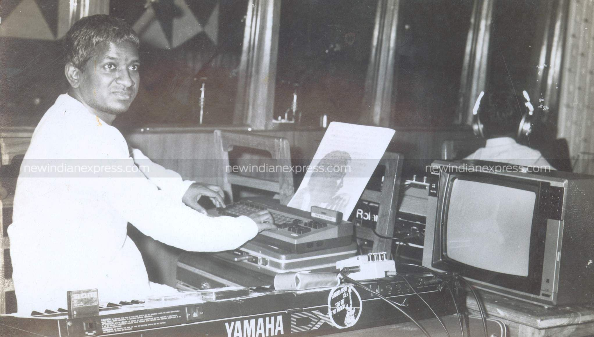 Music composer Ilayaraaja during a recording session.