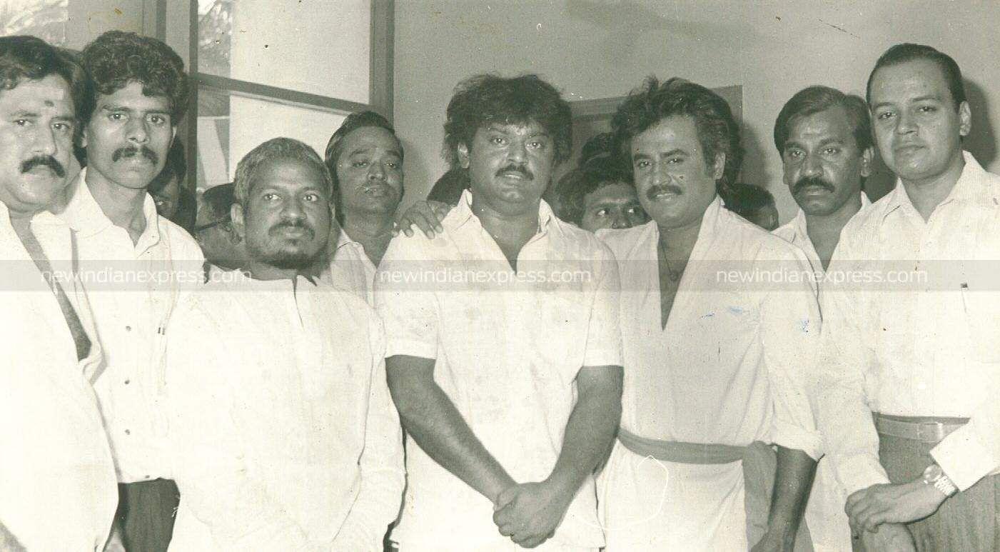 Actors Vijayakanth, Rajnikanth, music composer Ilayaraaja and others at the inaugural function of the movie 'Pulan Visaranai'.