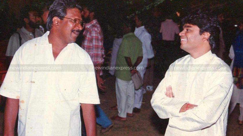 Director Mani Ratnam interacting with music composer AR Rahman at a function.