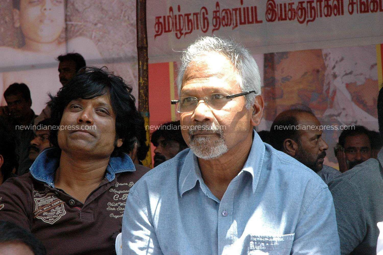 Filmmakers Mani Ratnam and SJ Suryah (L) during the protest by Tamil Nadu Film Directors Association against Sri Lanka war crimes.