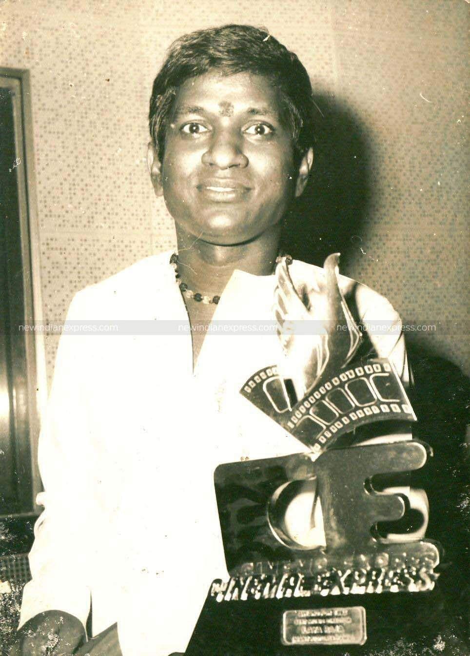 Ilayaraaja with his Cinema Express award.