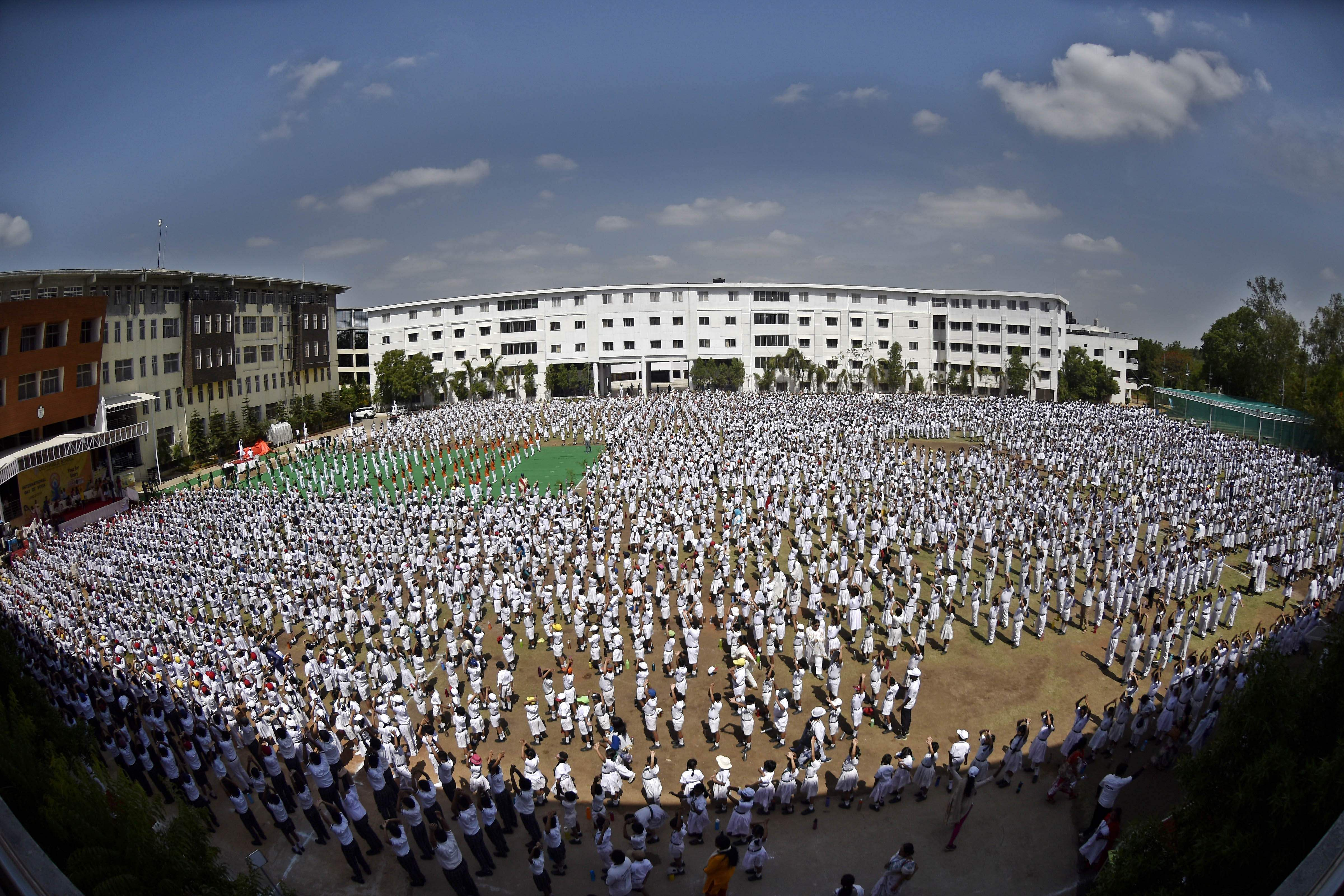 Five thousand six hundred students from the Delhi Public School, Hyderabad seen during their record-breaking yoga session. The New Indian Express was the media partner.