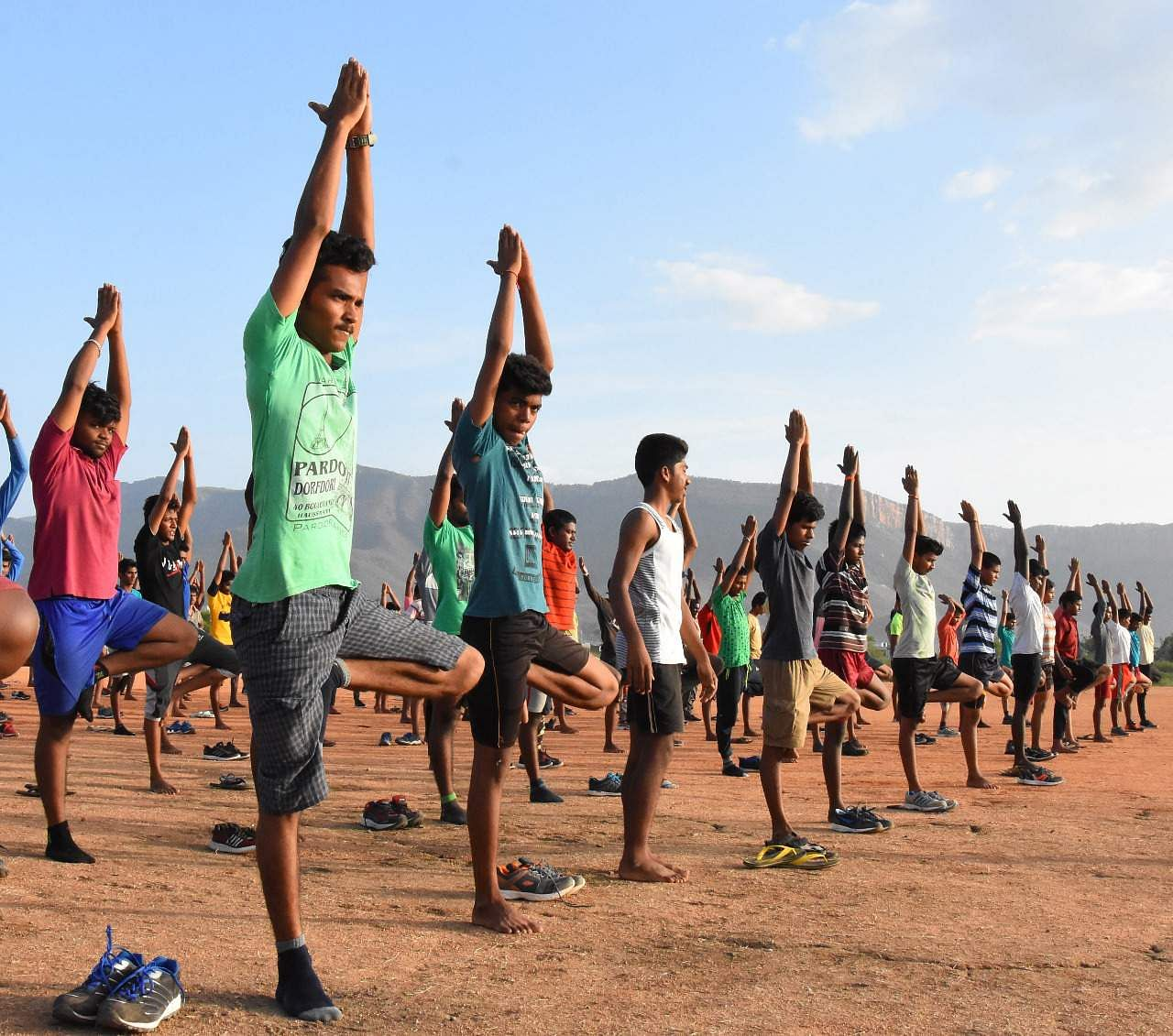 Students of the SV Defence Academy on Thursday perform 'asanas' during an awareness programme on Yoga organised by the Academy in association with The New Indian Express in Tirupati on Thursday
