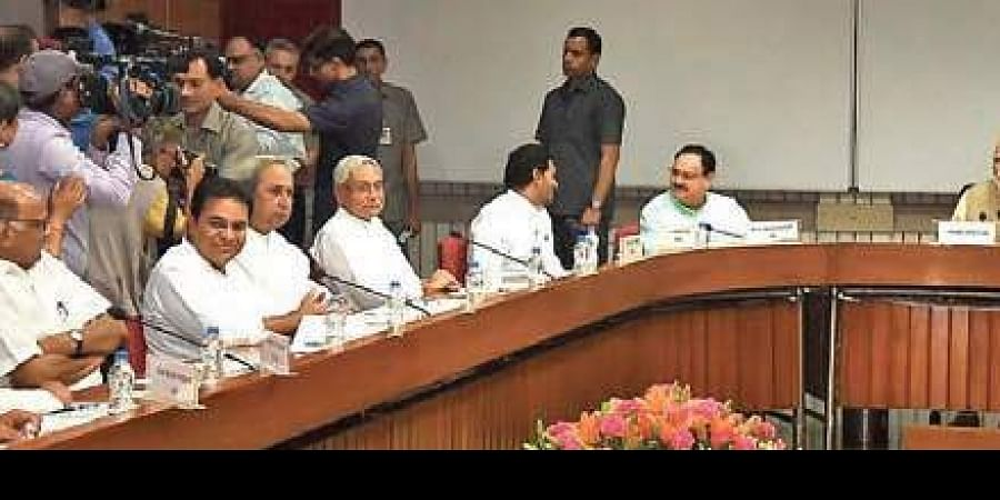 TRS working president K T Rama Rao at an all-party meeting on 'One Nation-One Poll' in New Delhi on June 19.