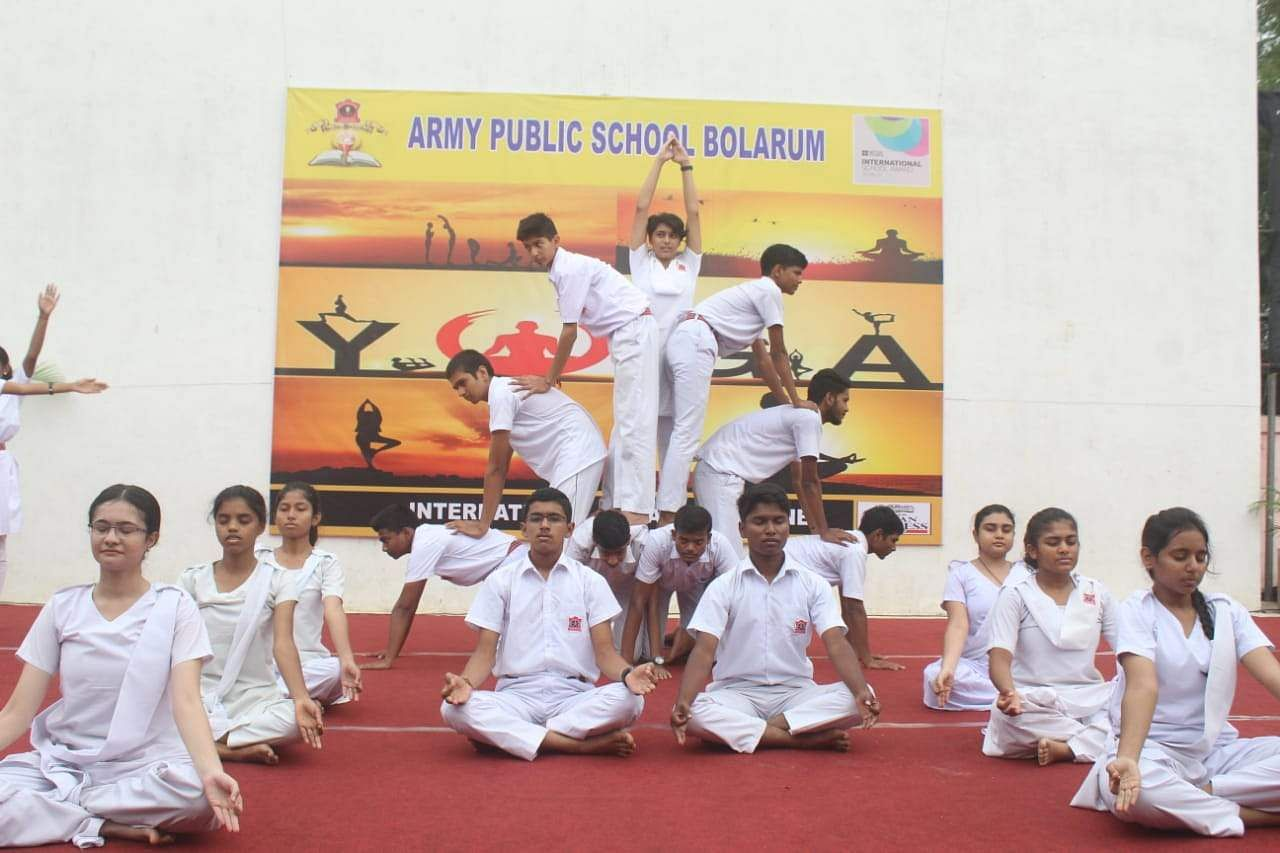 Students participating in the Yoga session organised by The New Indian Express at   Army Public School, Bolarum at Secunderabad in Hyderabad