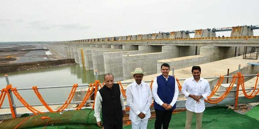 L-R: Telangana Governor ESL Narasimhan, Chief Minister K Chandrasekhar Rao, Maharashtra CM Devendra Fadnavis and Andhra Pradesh CM Jagan Mohan Reddy at the inauguration of the  Kaleshwaram Lift Irrigation Project in Telangana on 21 June 2019. (Photo | Telangana CMO Twitter)