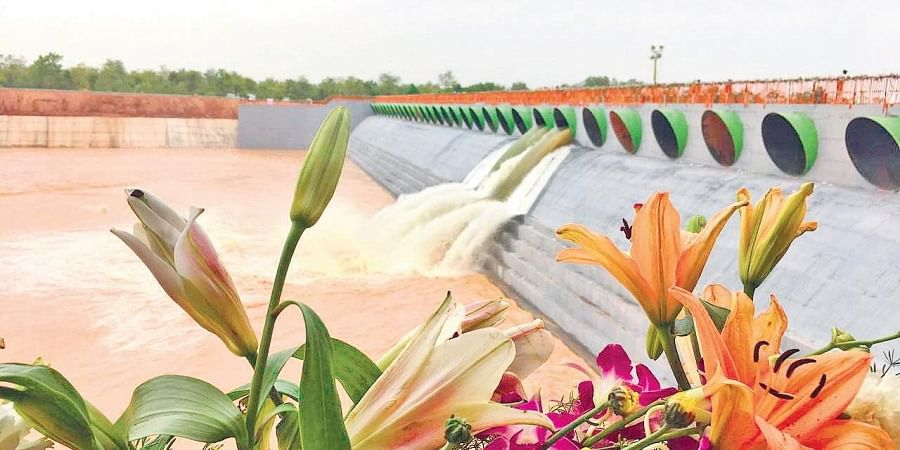A view of the Medigadda barrage in Jayashankar Bhupalpally district, where KLIS was inaugurated by Chief Minister K Chandrasekhar Rao.