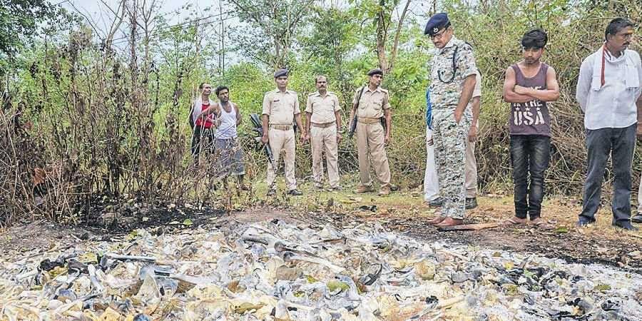 Police at the spot near Sri Krishna Medical College & Hospital in Muzaffarpur on Saturday