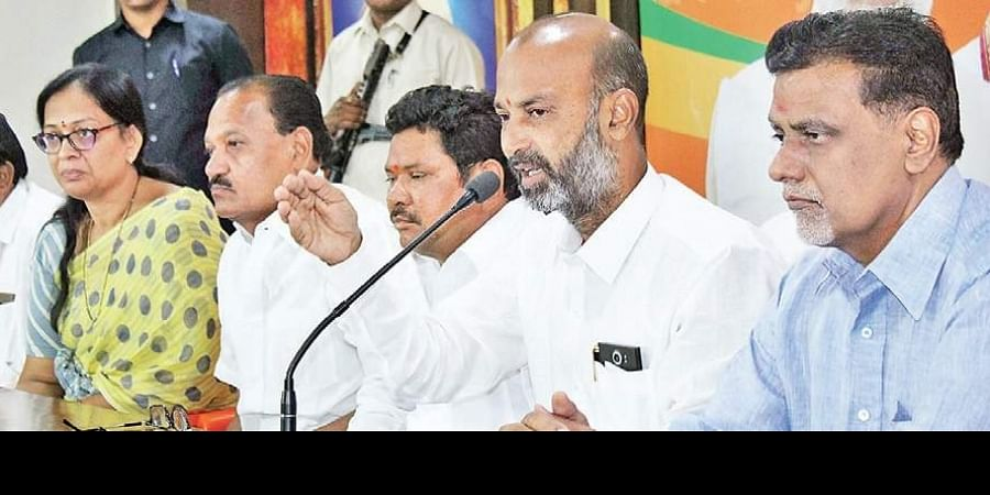 BJP leader and Karimnagar MP Bandi Sanjay addresses the media in Hyderabad.