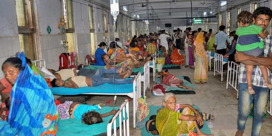 Children showing symptoms of Acute Encephalitis Syndrome AES being treated at a hospital in Muzaffarpur district.