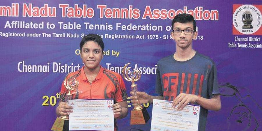 M Nithya Shree (L) and G Varun, winners of the girls' and boys' junior titles.