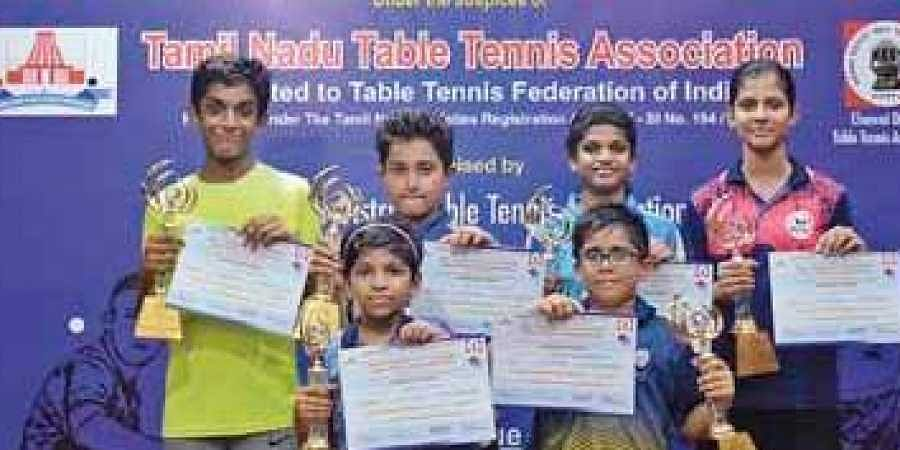 Winners in various categories at the RRS 3rd state ranking table tennis tournament