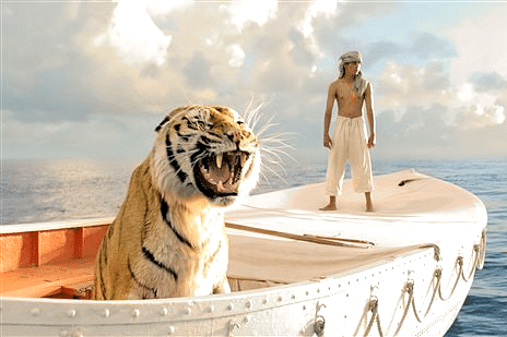 LIFE OF PI (2012): Pi is an ordinary Indian teenager - until his family business fails, and decides to move to Canada. One night aboard their Japanese cargo ship in the middle of the ocean, a storm hits and sinks nearly all that Pi holds dear. He survives in a lifeboat with several of their zoo animals, including a fearsome Bengal tiger. Soon he forms a special bonding with the animal that gives him daily motivation to live. Life of Pi is a tale of faith, hope, and the fight to survive.