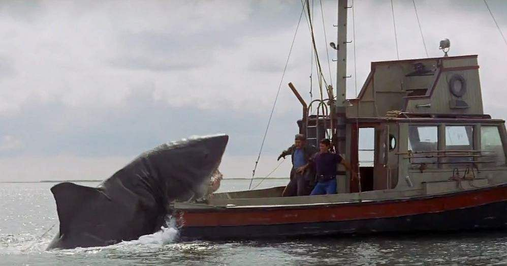 JAWS (1975): The Steven Spielberg film, based on Peter Benchley's 1974 novel of the same name, became a trend-setter and caused film-goers to be afraid to go into the water. The movie deals with Police Chief Martin Brody's efforts to hunt down a man-eating Great White, with the help of archaeologist Matt Hooper and Captain Quint.