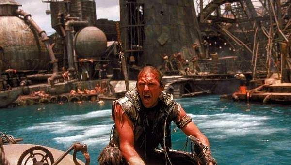 WATERWORLD (1995): In this post-apocalypse sci-fi action drama, the polar ice caps have melted down and most of Earth is underwater. Mariner (Kevin Costner) helps Helen (Jeanne Tripplehorn) and Enola (Tina Majorino) escape the 'Smokers' who are pursuing them in the belief that Enola holds the key to finding the mythical Dryland.
