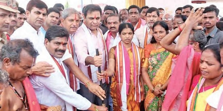 TRS working president KT Rama Rao performs bhumi puja for TRS  party office in Siricilla.