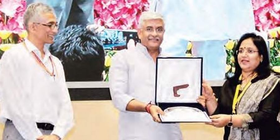 Peddapalli District Collector A Sridevasena receives the Swachh Sundar Shauchalaya award from minister Gajendra Singh Shekhawat in New Delhi.