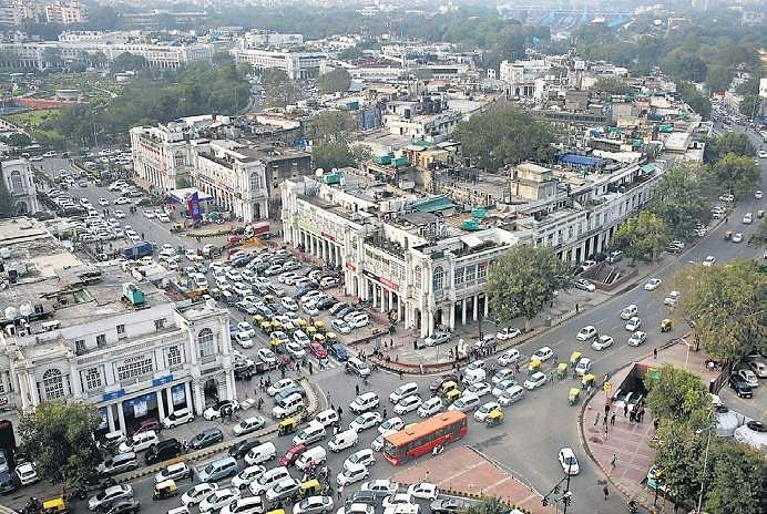 An aerial view of Connaught Place in New Delhi