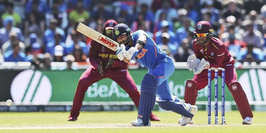 India's captain Virat Kohli bats during the Cricket World Cup match between India and West Indies at Old Trafford in Manchester. (Photo | AP)