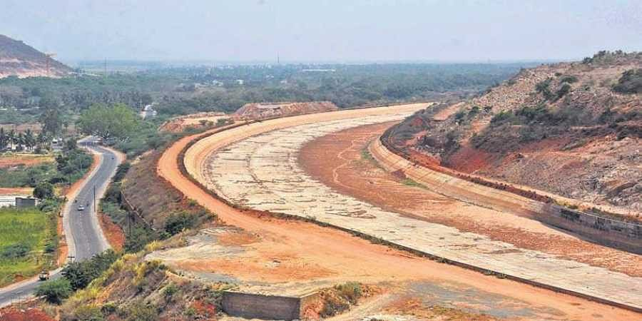 A view of the Polavaram project right main canal in West Godavari district