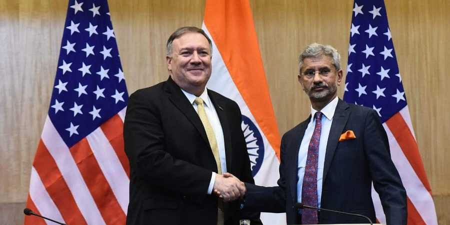 United States Secretary of States Mike Pompeo  and External Affairs Minister S Jaishankar in New Delhi