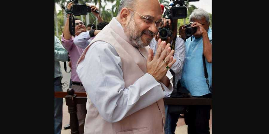 Union Home Minister Amit Shah outside the Parliament on 28 June 2019. (Photo | PTI)