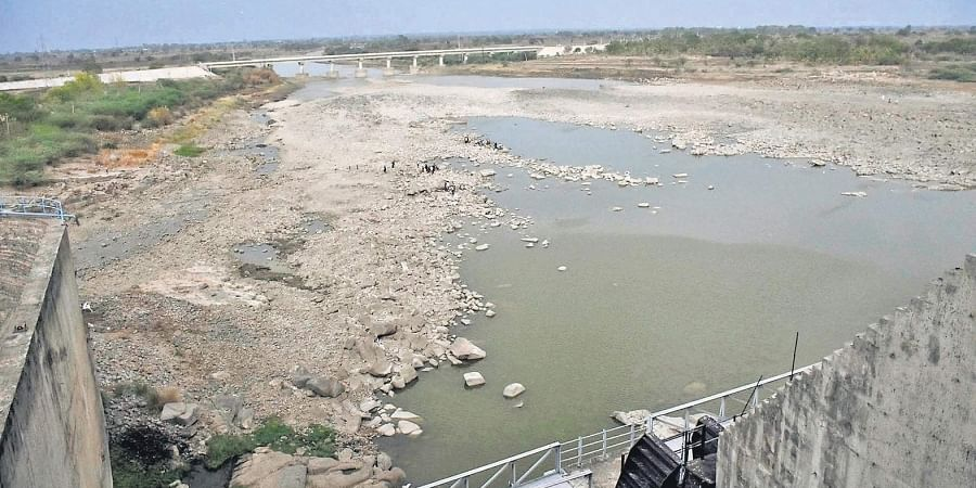 A view of the dried up Singur project in Medak.