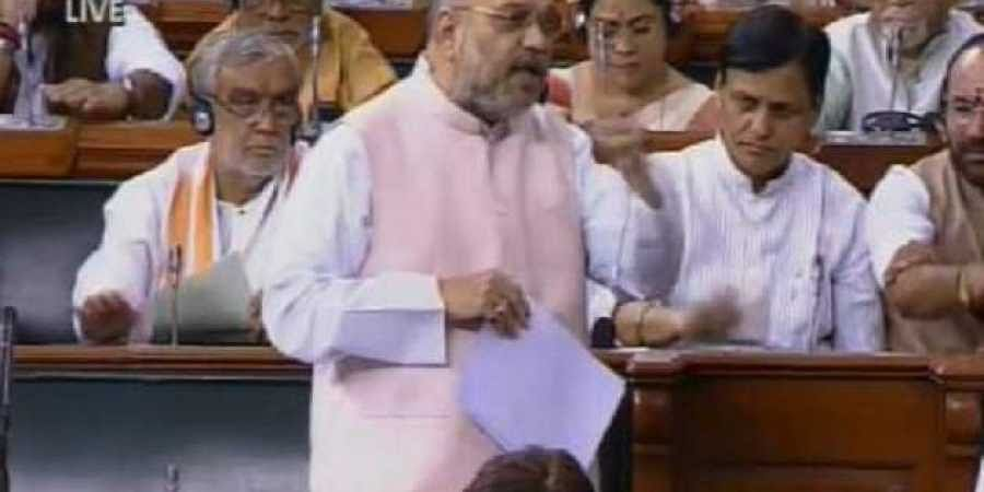Union Home Minister Amit Shah speaks in the 17th Lok Sabha. (Screengrab)