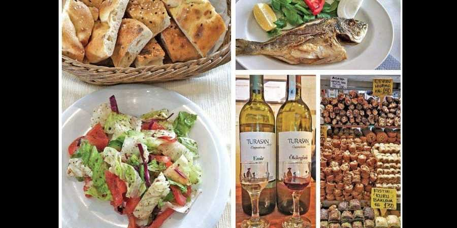 Clockwise: Turkish delights such as bazlama; sea bass grilled and garnished with olive oil and lemon; baklava in a market stall; Turkish wine; mixed salad.