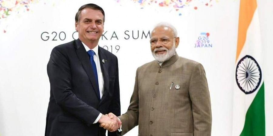 PM Narendra Modi with Brazil president Jair Bolsonaro