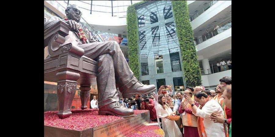 BJP Working President JP Nadda offers floral tributes to a statue of Dr Bhim Rao Ambedkar along with other senior BJP leaders during the party's state executive meeting in New Delhi.