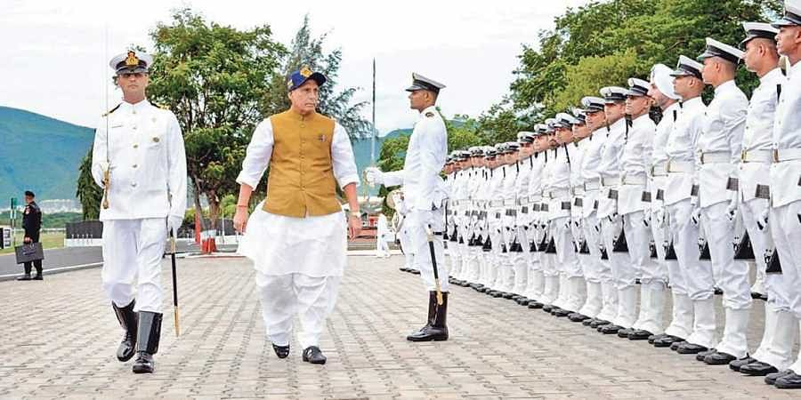 Defence Minister Rajnath Singh was presented with a guard of honour after his arrival in Visakhapatnam on Saturday