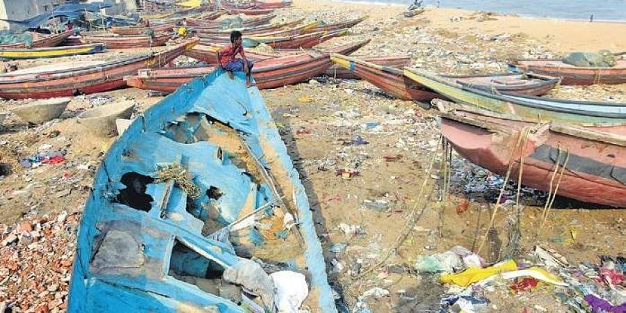 The damaged boats at Penthakota in Puri