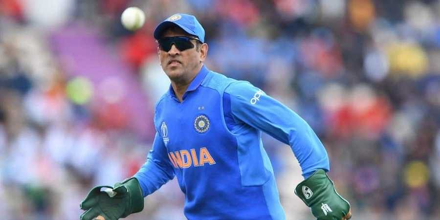 The 'Balidaan Badge' or the Army insignia was spotted on MS Dhoni's gloves (Photo   AFP)