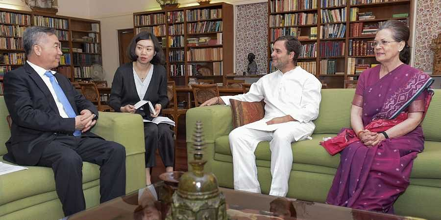 Delhi Congress Parliamentary Party chairperson Sonia Gandhi and party President Rahul Gandhi with Li Xi, the member of the Political Bureau of the CPC Central Committee of China during a meeting at 10 Janpath in New Delhi on 6 June 2019. (Photo | PTI)